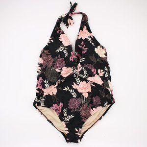 NWT Floral Black One Piece Halter Neck Swimsuit